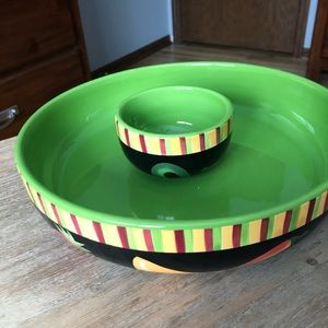 Crate & Barrel Chip & Dip Bowls with Fiesta Theme
